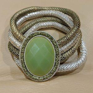 Vintage Style Bracelet - Two Tone - Green Gem